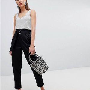 Black paper bag waist pants